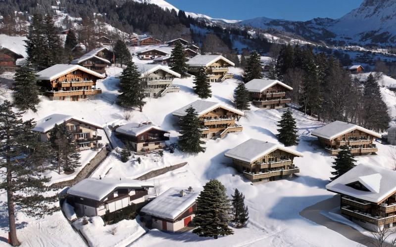 pohled na švýcarskou alpskou vesničku