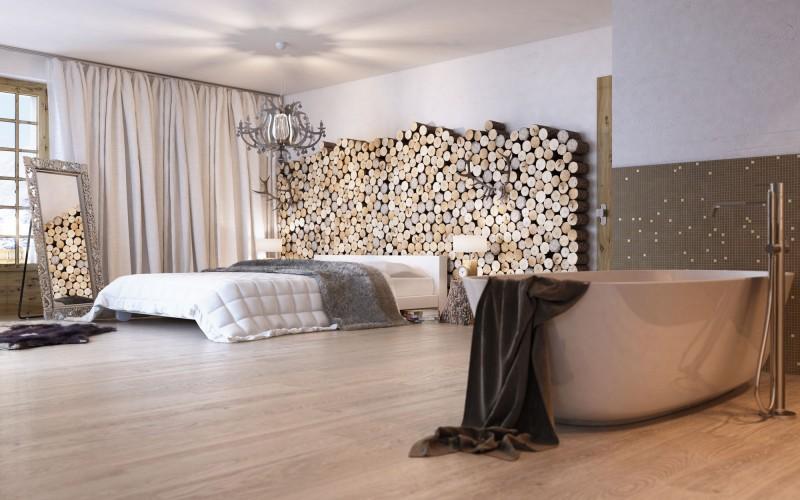 ložnice s vanou v jedné místnosti