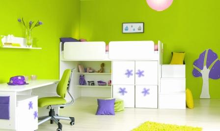 zelená barva v pokoji pro děti