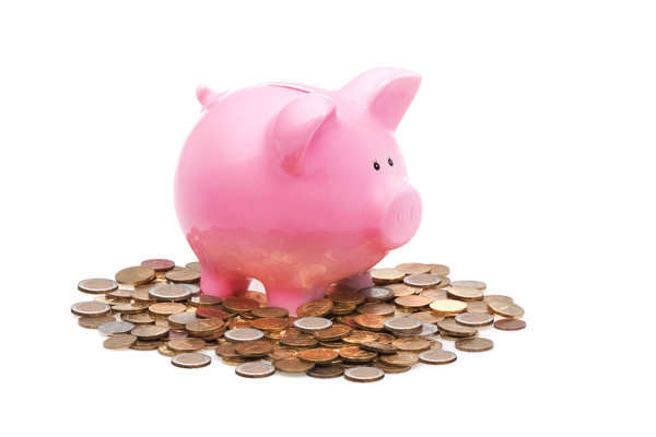 Pink Piggy Bank and a Lot of Coins