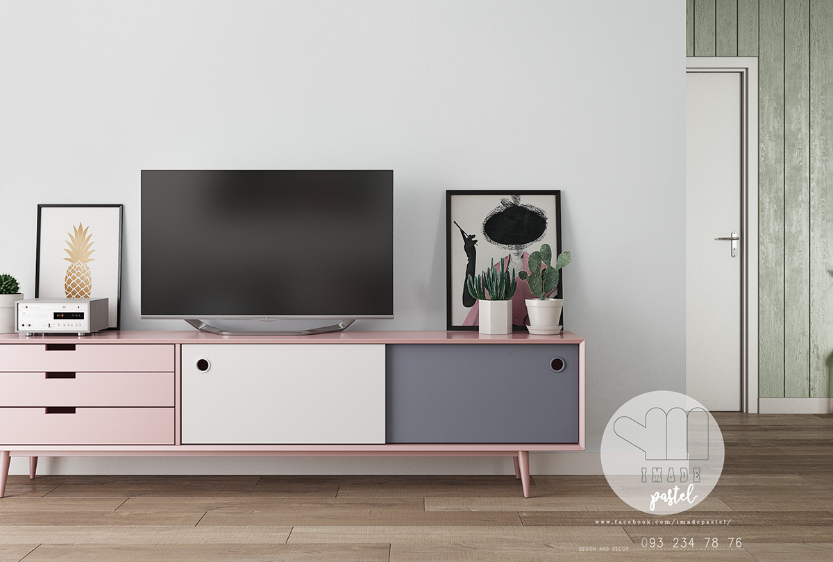 pink-grey-and-white-TV-cabinet-Scandinavian-lounge